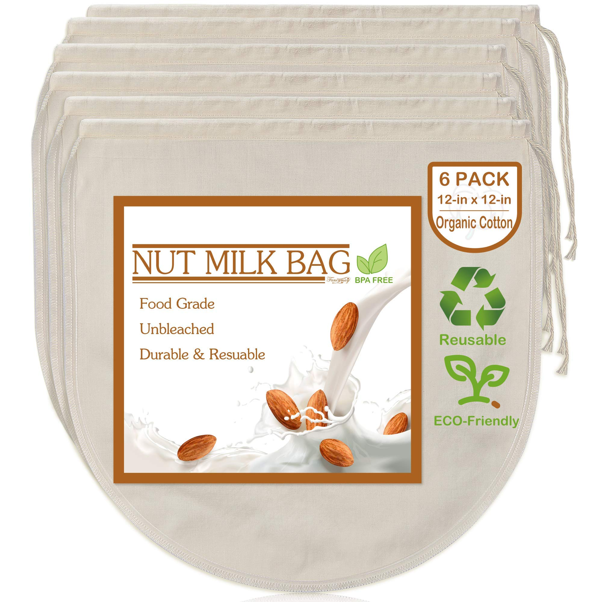 """6 Pack 12""""x12"""" Nut Milk Bags - 100% Unbleached Organic Cotton Cheesecloth, Reusable Food Strainer Colander For Straining Almond/Oat Milk, Celery Juice, Cold Brew Coffee, Yogurt and Cheese Making"""
