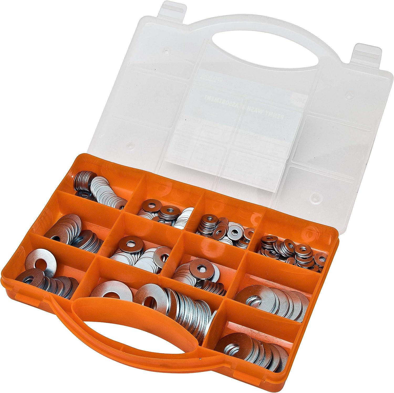 para aficionados fontaneros constructores y entusiastas del bricolaje en R Arandelas de metal duradero para uso general y guardabarros Arandela grande de 240 piezas