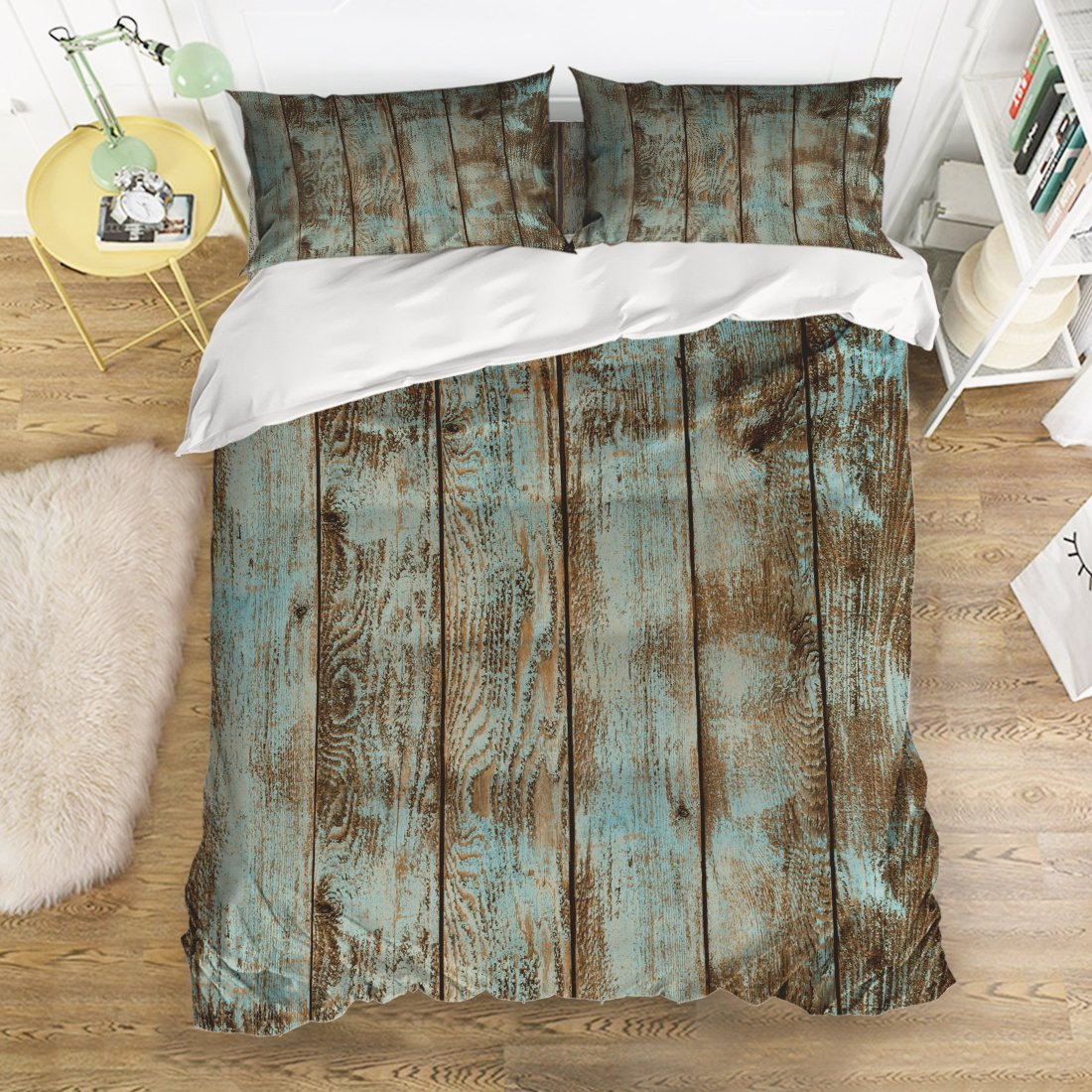 4 Piece Bedding Sets Rustic Wood Board Pattern Duvet Cover Set Reversible Comforter Set 1 Flat Sheet 1 Duvet Cover and 2 Pillow Cases by YEHO Art Gallery (Twin Size)