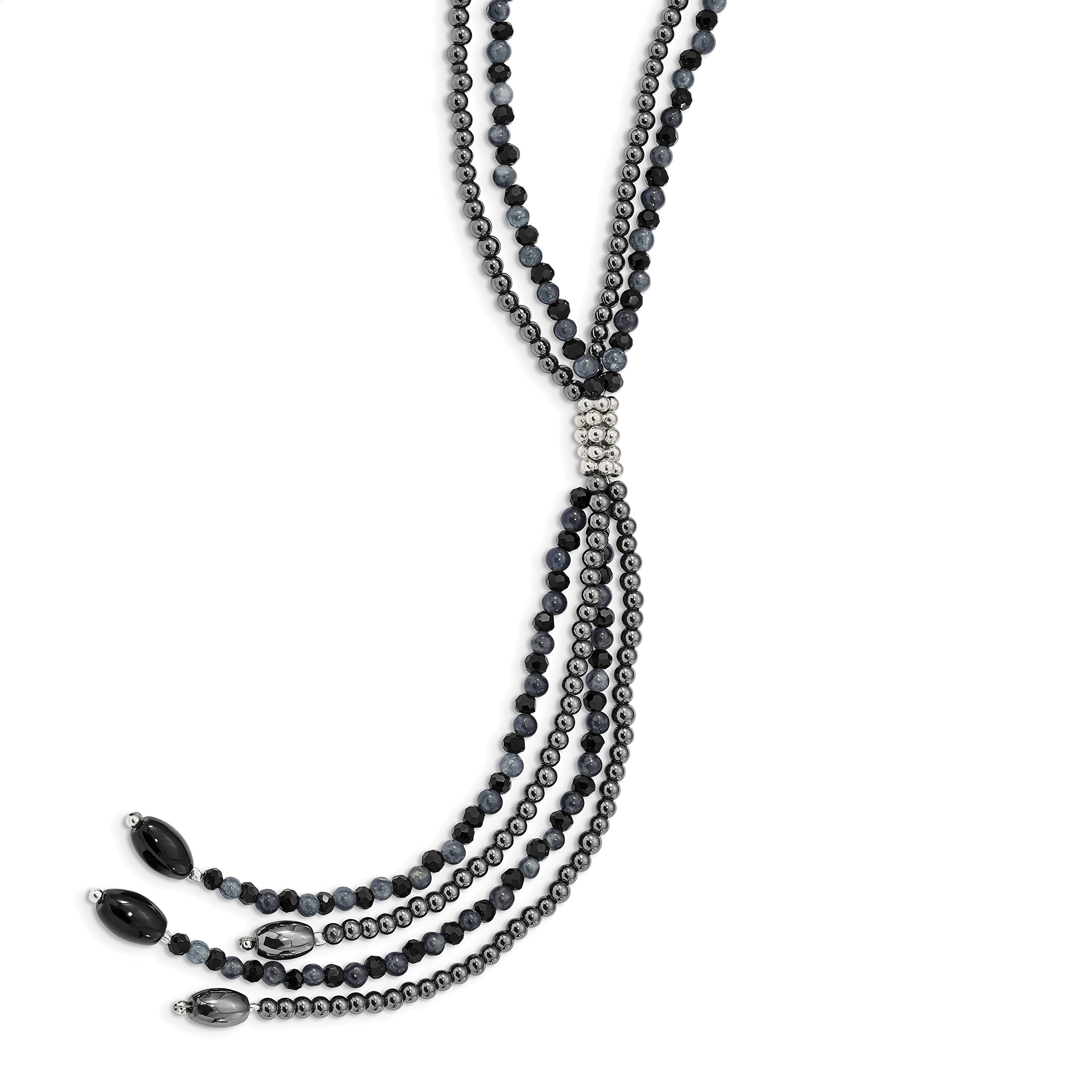 ICE CARATS 925 Sterling Silver Blkagate/blkcrys/hematite/grey Quartz 2 Strand 5 Inch Drop Chain Necklace Natural Stone Fine Jewelry Gift Set For Women Heart