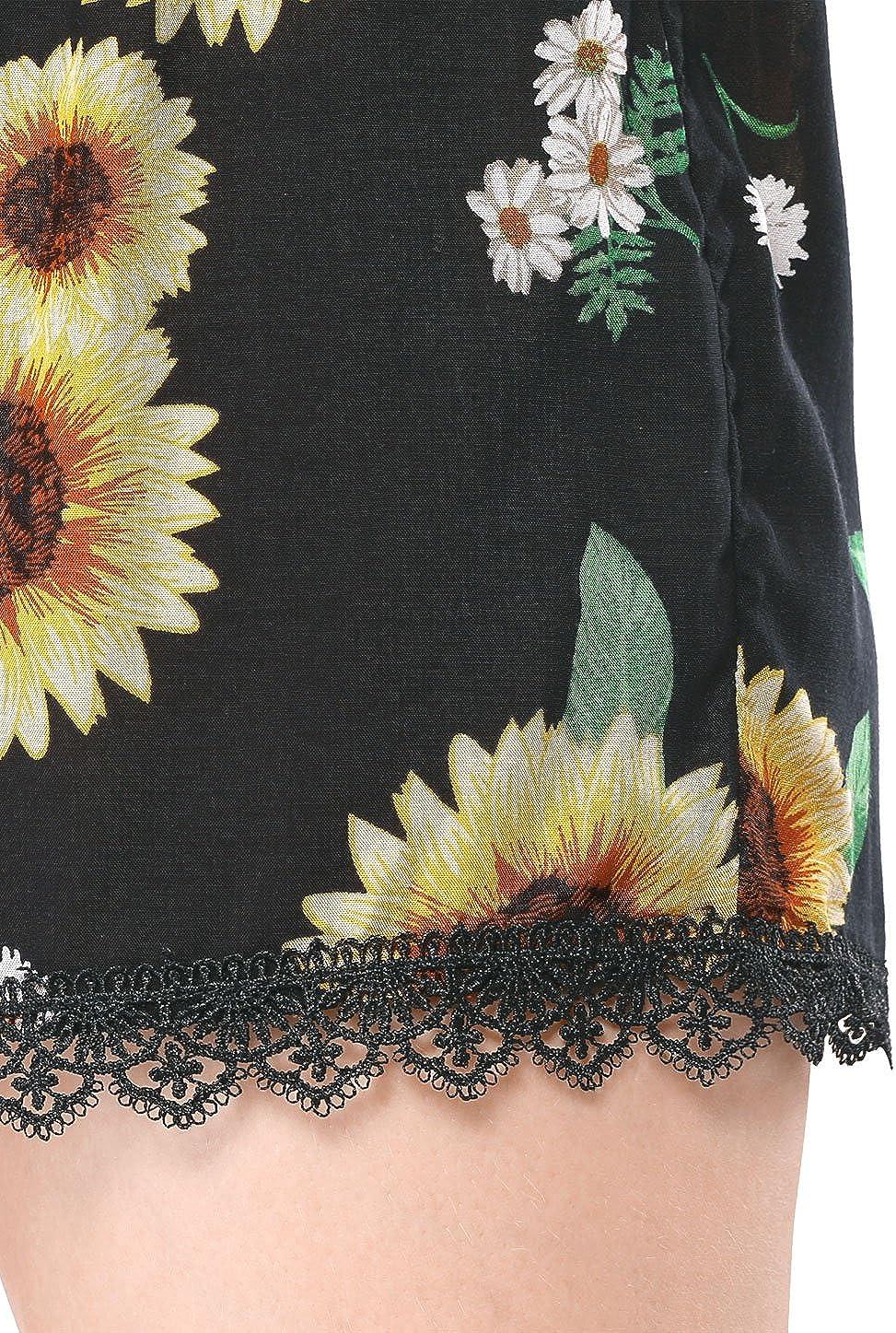 Allegra K Donne Pantaloncini Piuma Floreale Stampa Pizzo Elastico in Vita Spiaggia Pantaloni