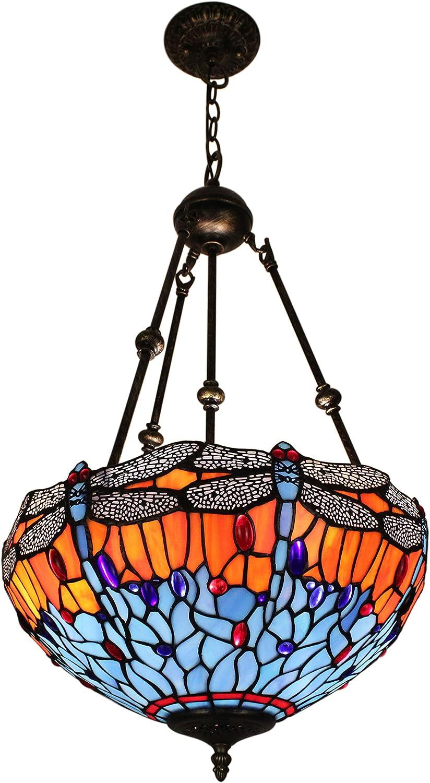 Tiffany de 16 pulgadas de la vendimia europea del estilo del vitral de la libélula Y Luz Perla invertida serie Luz de techo Luz pendiente Comedor