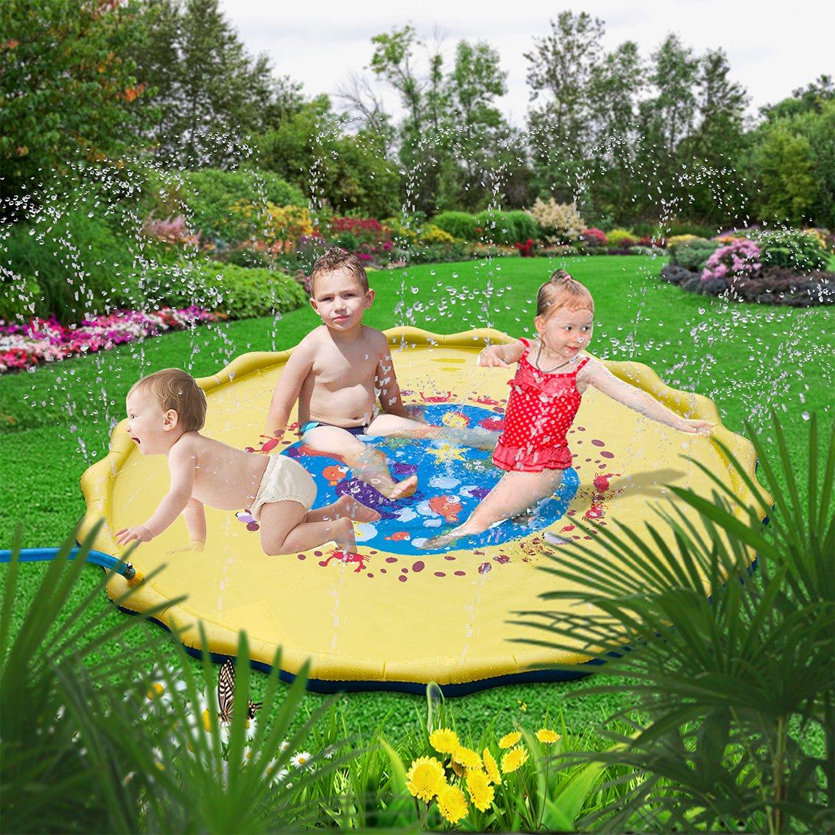 HALOFUN 67in-Diameter Sprinkle and Splash Play Mat for Kids (Yellow) by HALOFUN (Image #7)