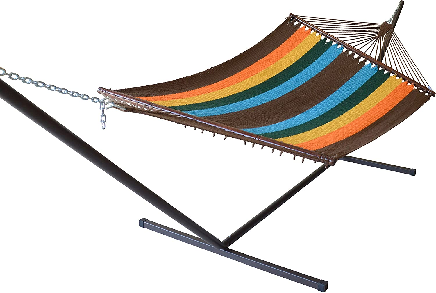 Caribbean Hammocks Jumbo Hammock and 15 ft Tribeam Stand - Multi Color Orange
