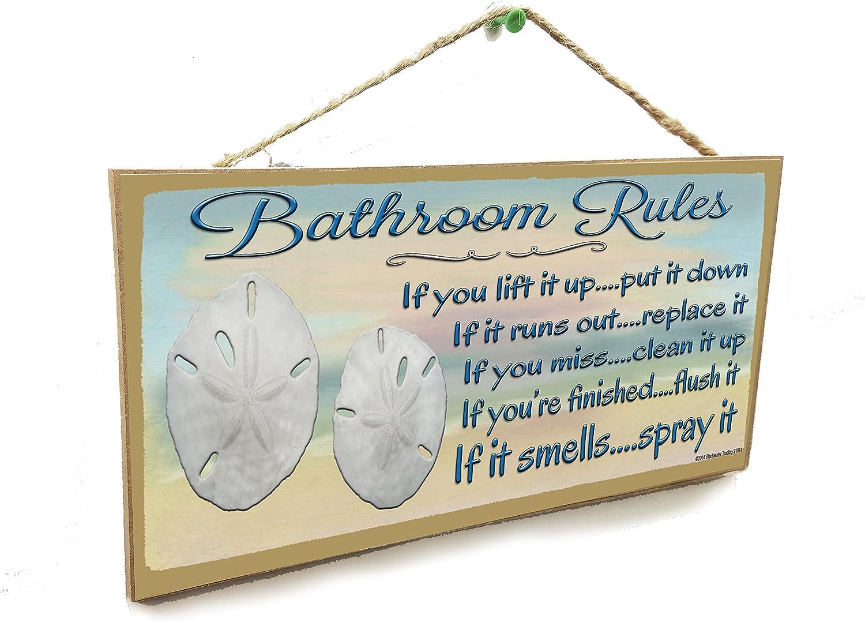 "Bathroom Rules If It Smells Spray It Beach Sand Dollar Sign Plaque 5""x10"""