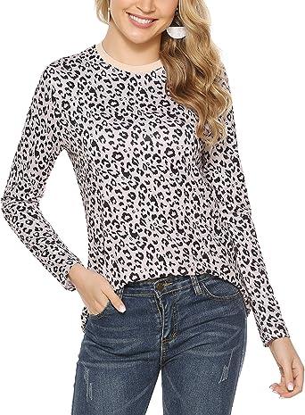 Sykooria Camiseta Casual Mujer Estampado de Leopardo Tops de Manga Larga Blusas con Cuello Redondo