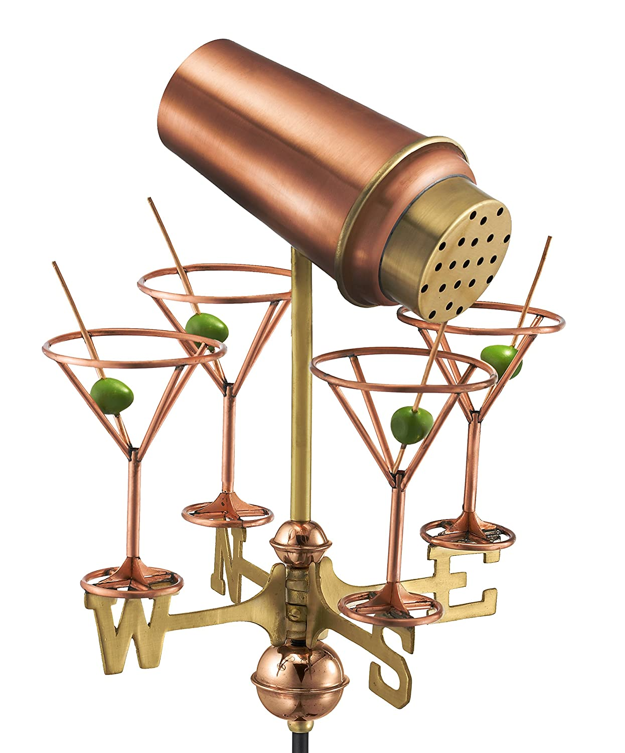 Good Directions Martini with Glasses Garden Weathervane with Garden Pole, Pure Copper 8861PG