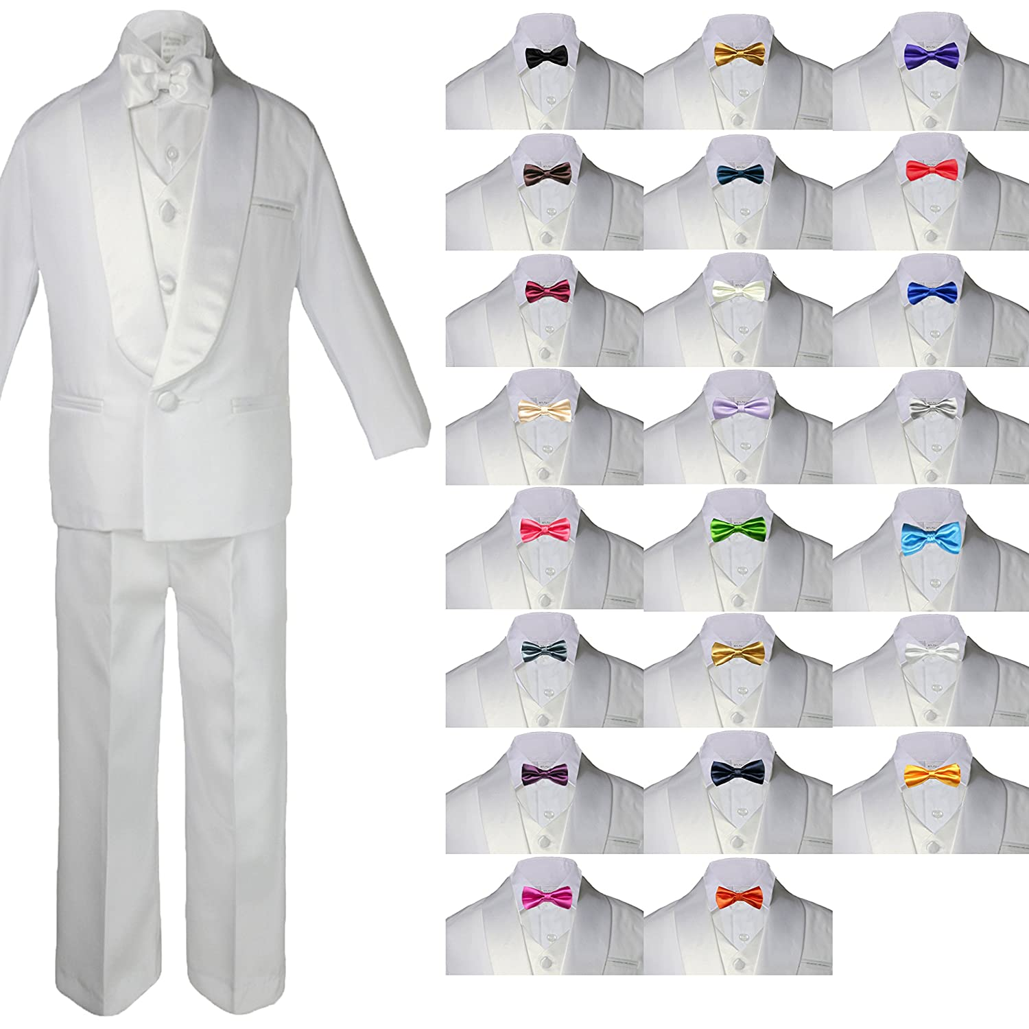 6pc Boys White Satin Shawl Lapel Suits Tuxedo EXTRA Brown Satin Bow tie Set