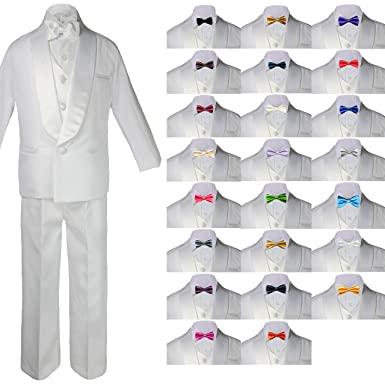 White Blac Suit Shawl Lapel Tuxedo Vest Set Baby Toddler Boy Sm 20 Teen