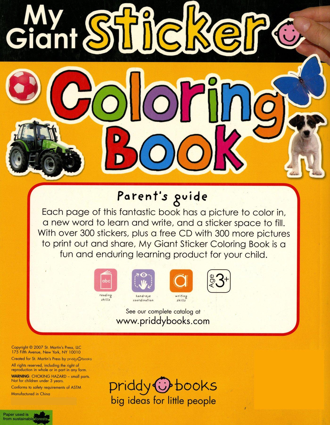 Fantastic fun book to color - My Giant Sticker Coloring Book With Cd 1 Giant Sticker Activity Roger Priddy 9780312500337 Amazon Com Books