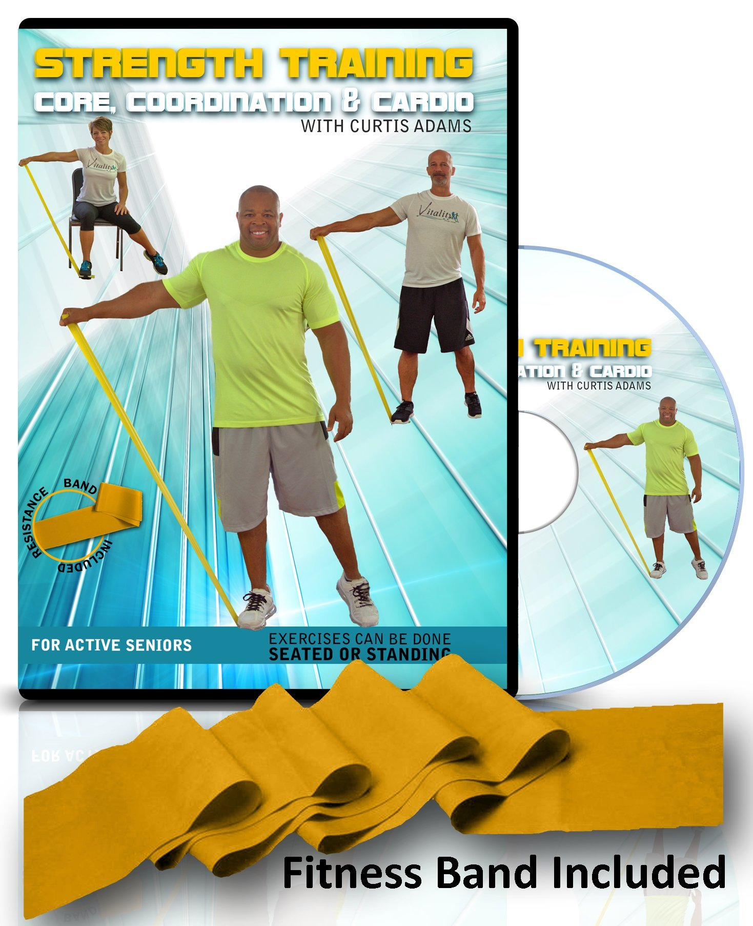 Exercise for seniors: SENIOR EXERCISE DVD + RESISTANCE BAND. Select standing or chair exercise you decide. Senior workout video helps you get stronger, core & abs, aerobic heart health, coordination
