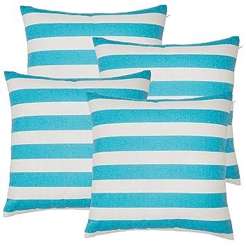 avanzza Juego de 4 Funda de cojín/almohada de 40 x 40 cm en Turquesa para almohada, sofá almohada/almohada y decoración Cojín Sofá Decoración Cojín de ...