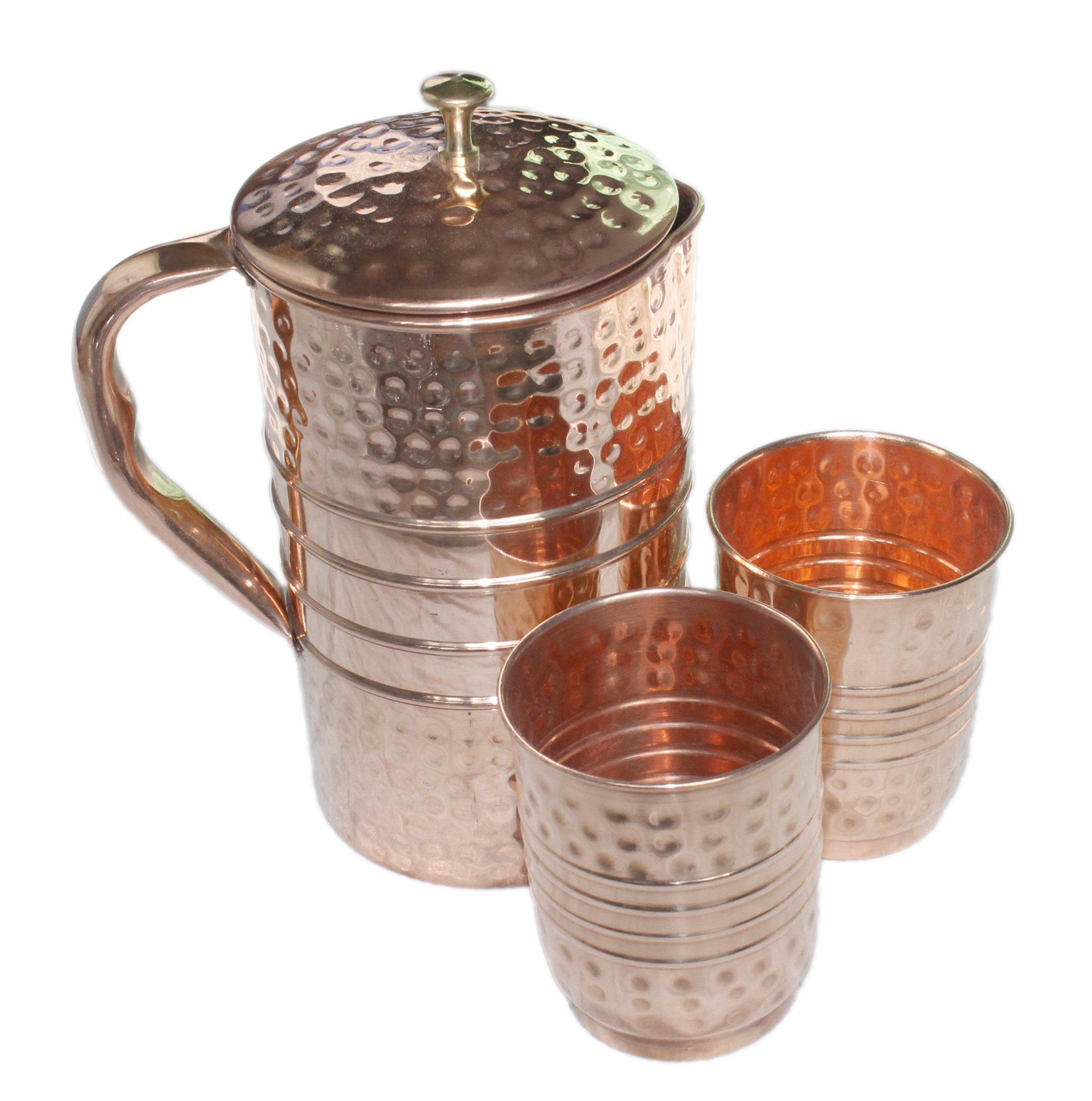 PARIJAT HANDICRAFT Ayurvedic Pure Copper Water Pitcher Jug Set 2 Water Glasses Cup Tumbler Jug Capacity 54 Ounce Glass Capacity 10 Ounce Copper Hammered