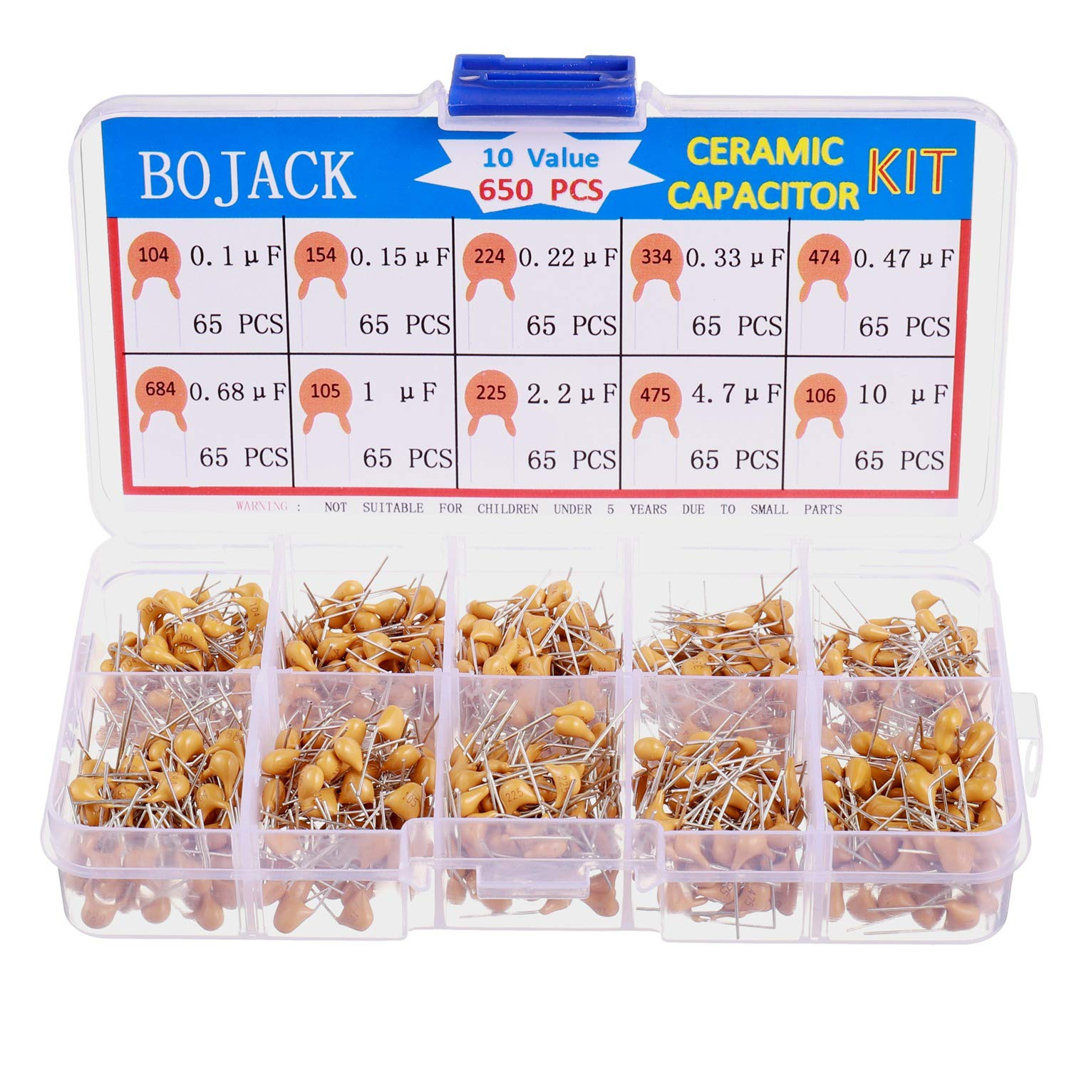 BOJACK 10 Type 650Pcs Ceramic Capacitor Assortment Kit Capacitors From 0.1uf//100 nF to 10 uF in a Box