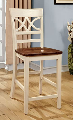 Furniture of America Cherrine Country Style Pub Dining Chair, Oak Vintage White, Set of 2