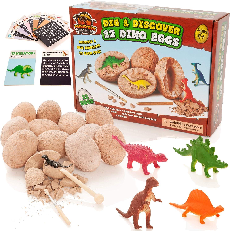 Prehistoric World - Juguete de Dinosaurios - Kit de excavación de Huevos de Dinosaurio - Incluye 12 Huevos y Figuras + 12 Tarjetas educativas de bonificación