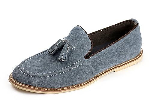 Hombre Ante Sin Cordones Elegante Borla Zapatos Casual Italiano Moderno Cuero - Gris, 8 UK / 42 EU: Amazon.es: Zapatos y complementos