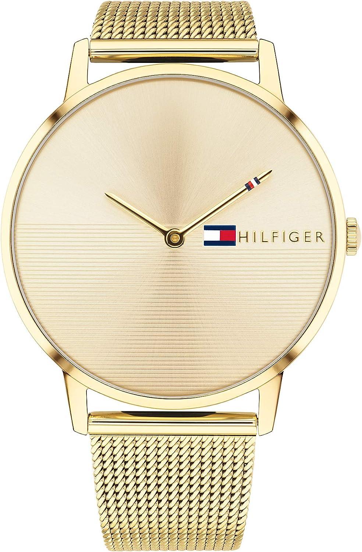 Tommy Hilfiger Reloj Analógico para Mujer de Cuarzo con Correa en Bañada en Oro 1781972