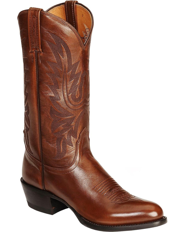 Lucchese Bootmaker Men's Carson-Ant Bn Lonestar Calf Cowboy Riding Boot, Antique Brown, 12 D US