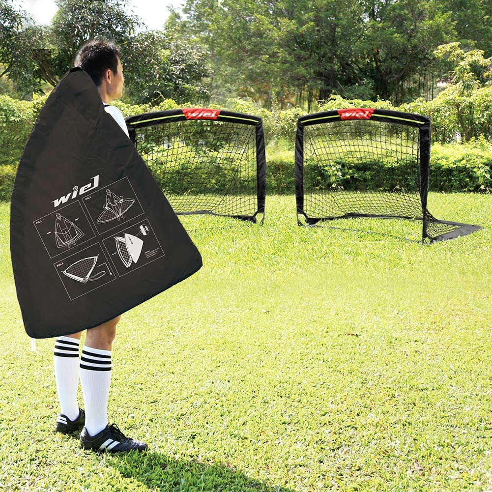 Set of 2 for Family Team Kids Backyard Games 4Ft x 3Ft Net Easy Fold-Up Training Goals W Reflective Strips for Playing at Nightfall Wiel Soccer Goal