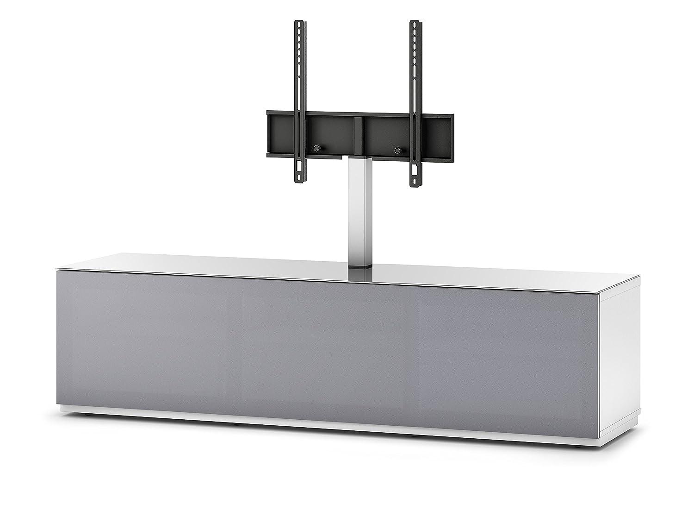 Sonorous STA 161T-WHT-GRY-BS stehende TV-Lowboard mit TV-Aufhängung, versteckten Rollen, weißer Korpus, obere Fläche, gehärtetem Weißglas und Klapptür mit grauem Akustikstoff