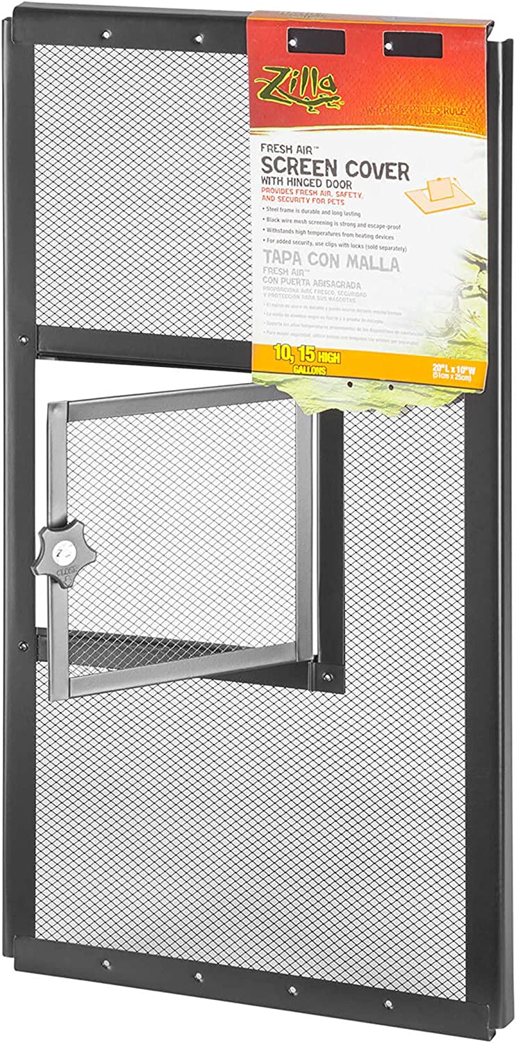 Zilla Reptile Terrarium Covers Fresh Air Screen, Hinge, 20x10-inch (Metal Mesh)