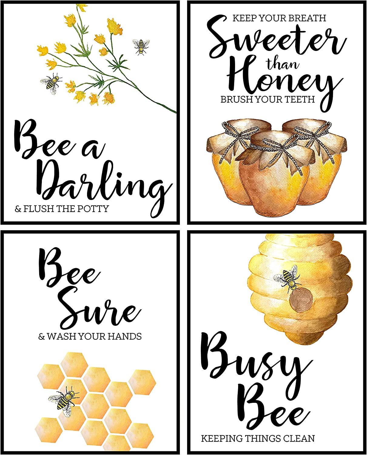 Silly Goose Gifts Home is Where Your Honey is - Art Print Watercolor Design Wall Room Home Bathroom Decor Set - Bee A Nice Human (Bathroom Wall Decoration)