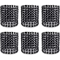 KPOSIYA Napkin Rings, Pack of 120 Rhinestone Napkin Rings Diamond Adornment for Place Settings, Wedding Receptions, Dinner or Holiday Parties, Family Gatherings (120, Black)