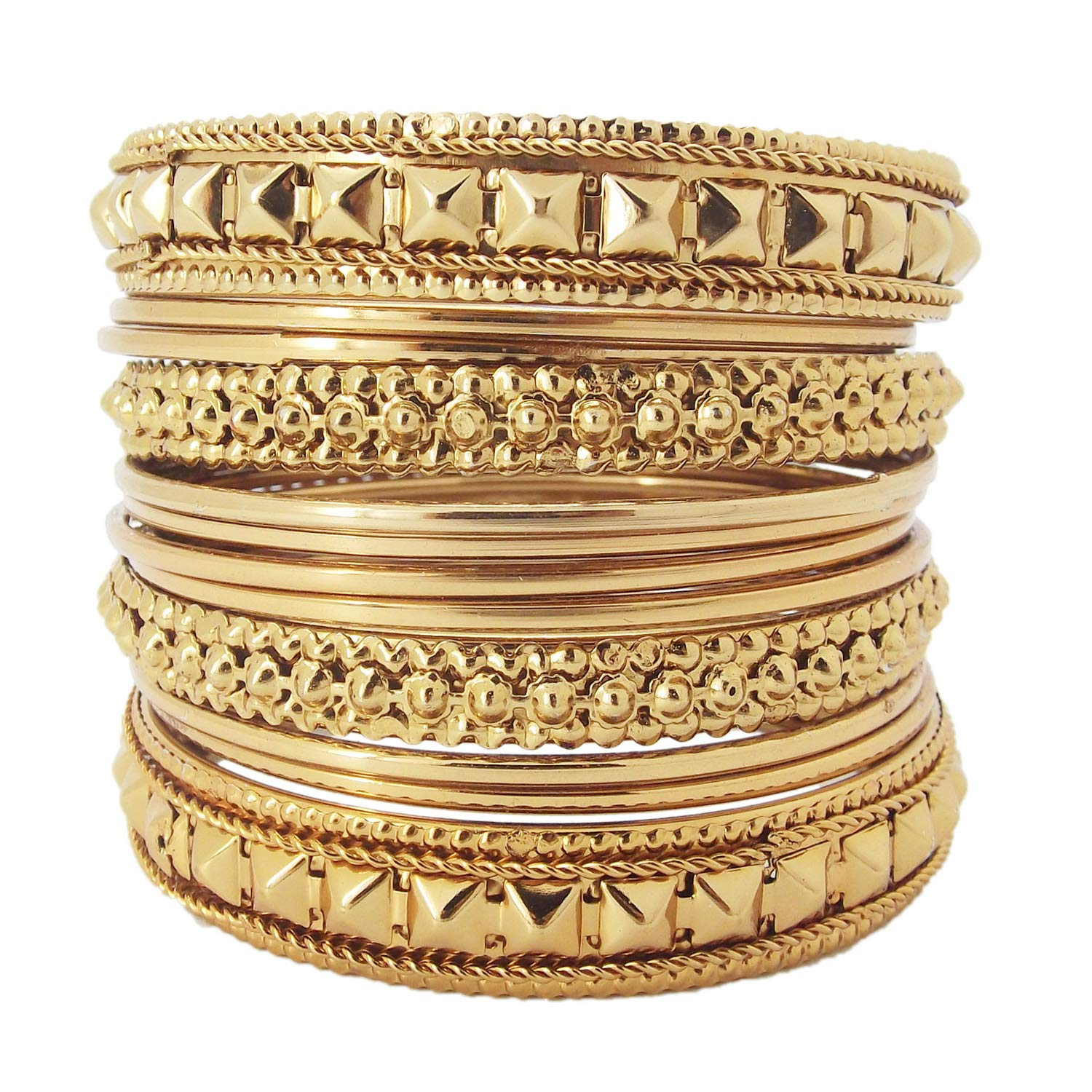 9blings Antique Collection 12pc Metal Gold Plated Bangles Chuda Womens Girls