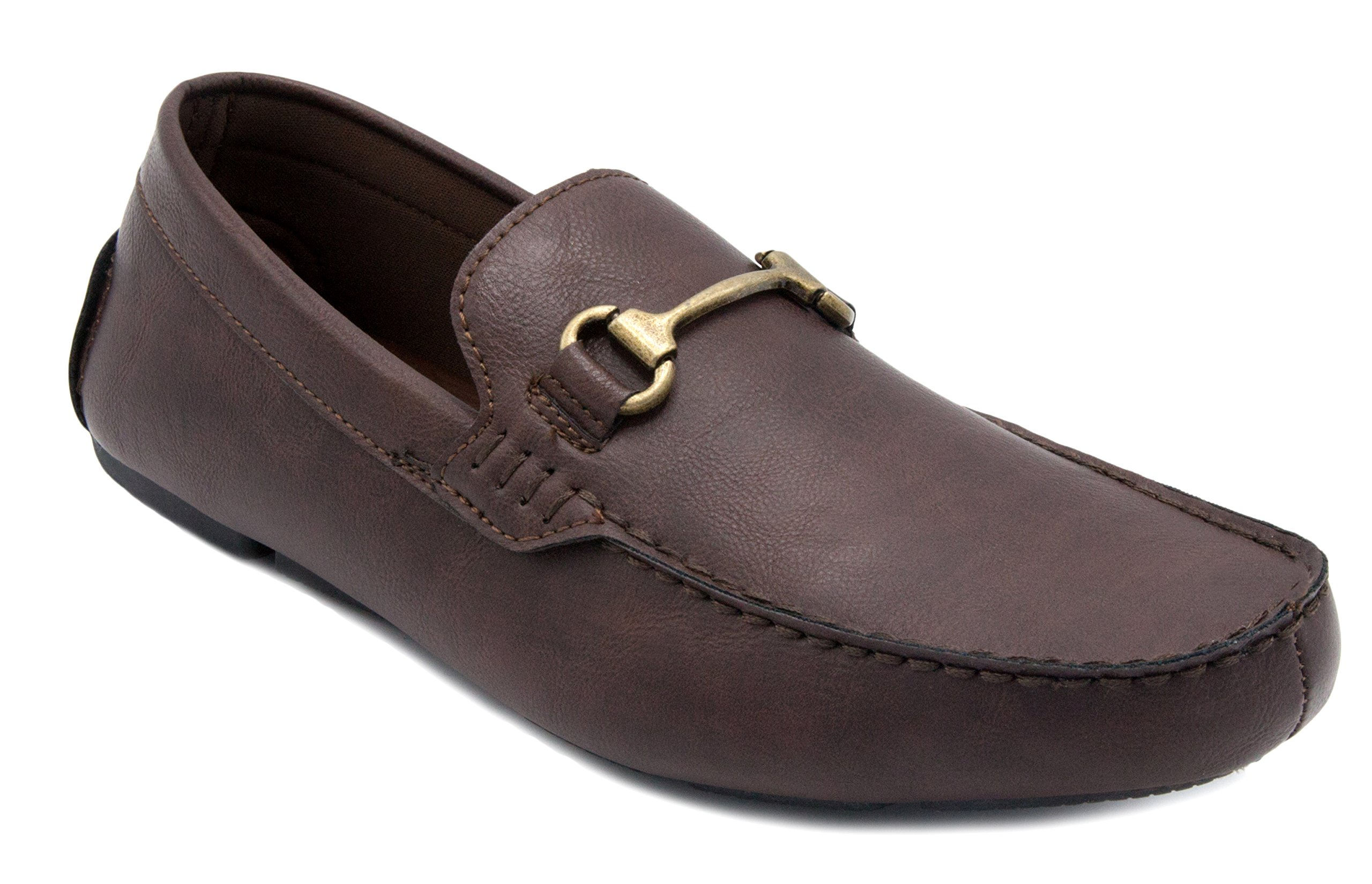 London Fog Mens Fairford Driving Moccasin Loafers Brown 8