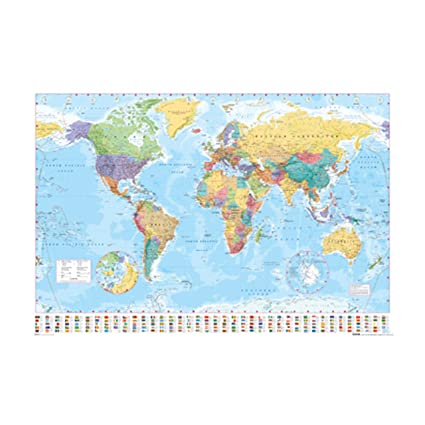 Amazon world map poster 24x36 psa033057 posters prints world map poster 24x36 psa033057 gumiabroncs Gallery