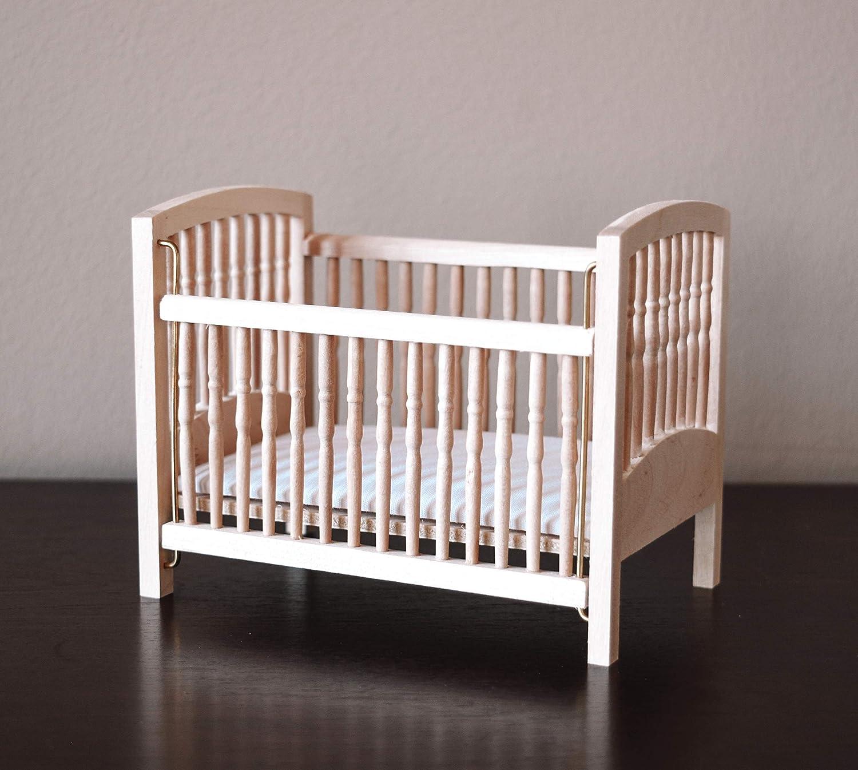 Macy Mae Dollhouse Crib. 1:12 Scale. Raw Wood.