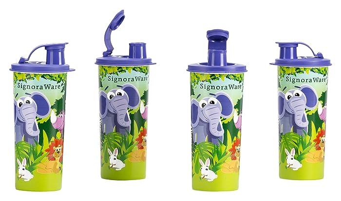 Signoraware Jungle Adventure Plastic Sipper, 500ml, Set of 4, Violet