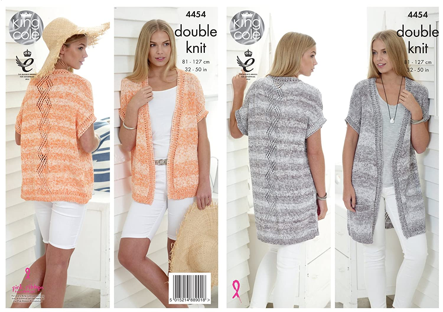 King Cole Ladies Double Knitting Pattern Womens Lace Effect Short or Long Waistcoats Vogue DK (4454)