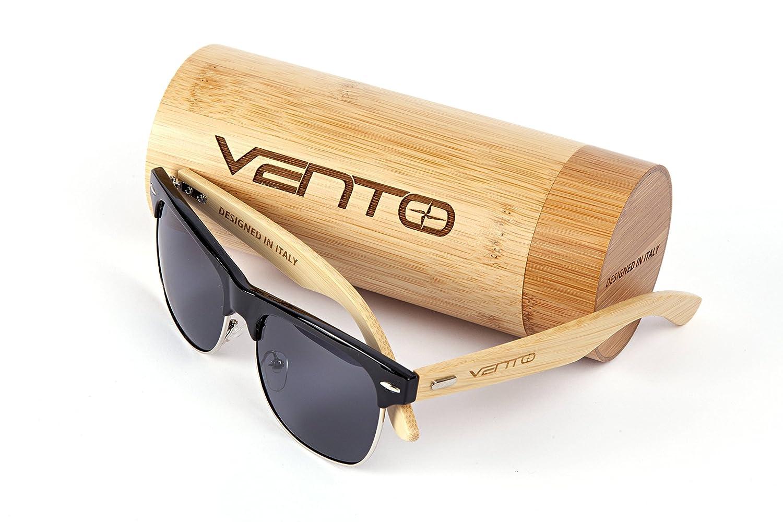 Vento Eyewear® modello Sirocco BlackTwice - Occhiali da sole in legno di bambù,Disegno Italiano, con CE e protezione UV400, Marco neri lenti neri SPSGSRBFBL