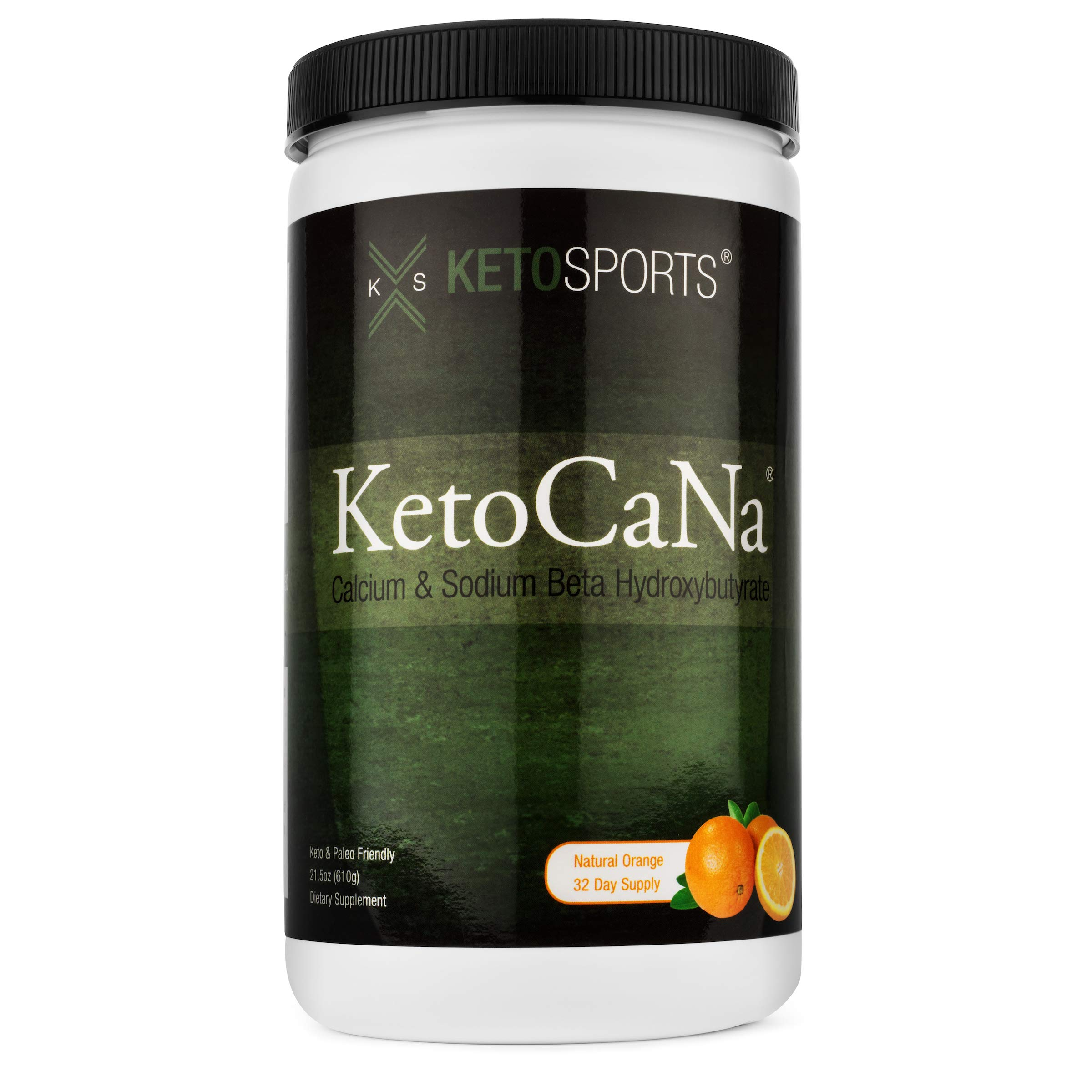 KetoSports KetoCaNa BHB Exogenous Ketone Supplement, Stimulant-free Physical & Mental Performance Energy Booster Natural Orange 21.5 Oz Container 32 Servings by KetoSports
