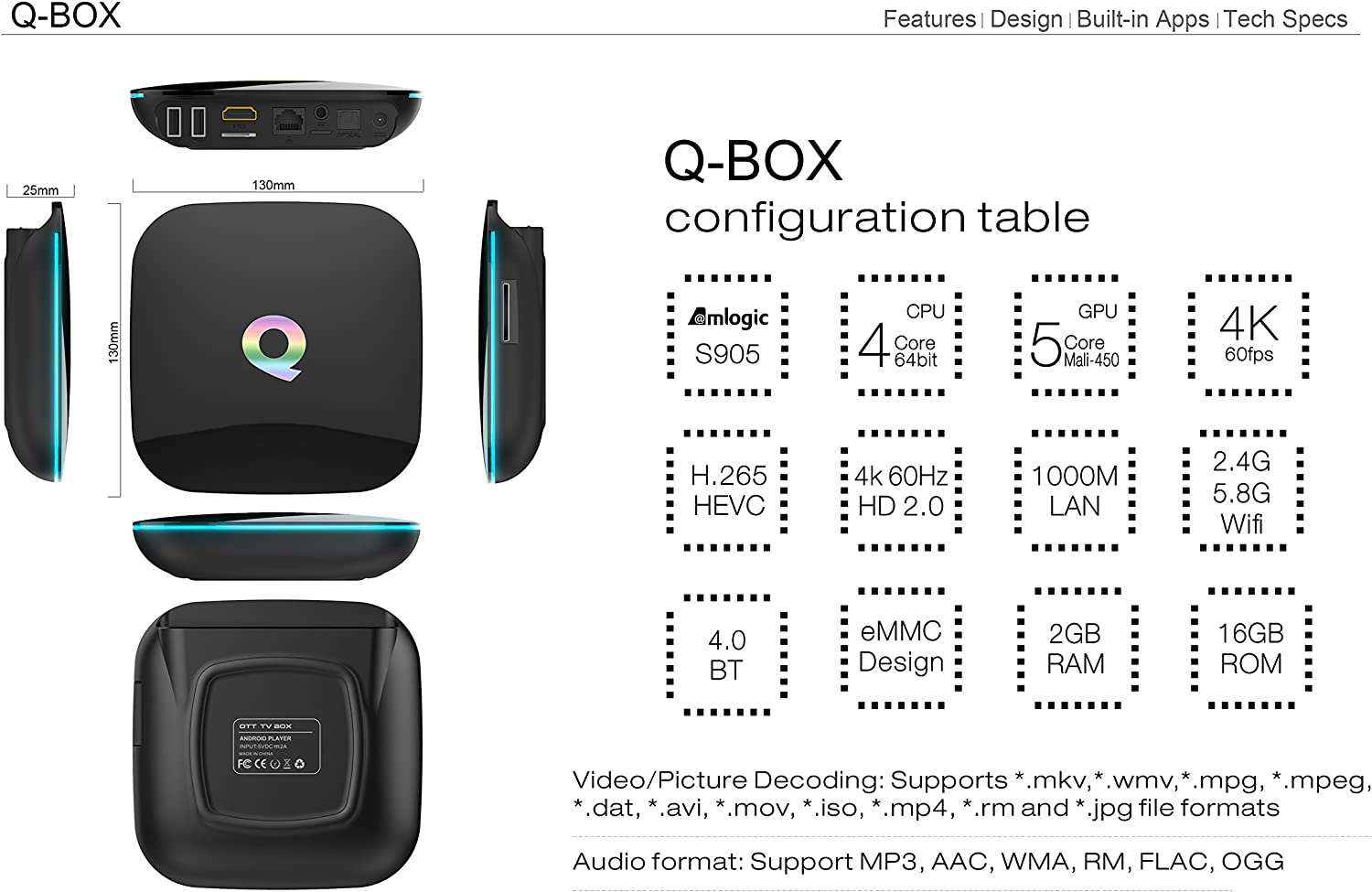 Smart Android TV Box, QBox 2017 modelo Android 6.0 TV Box Amlogic amlogics905 X 2 GB de RAM 16 GB ROM Smart TV Caja con procesador Quad Core A53 64 bits, HDMI