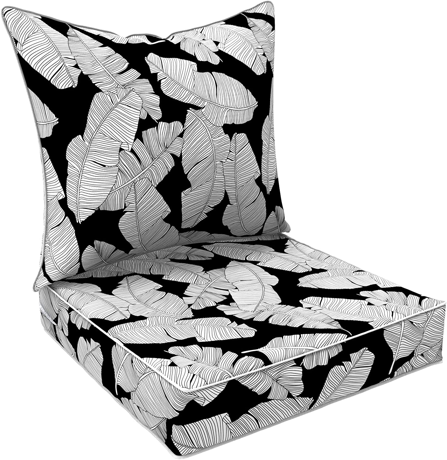 LVTXIII Outdoor/Indoor Deep Seat Cushions, All Weather Deep Seat Chair Cushion Set for Patio Furniture, Black Lush Leaf Jungle