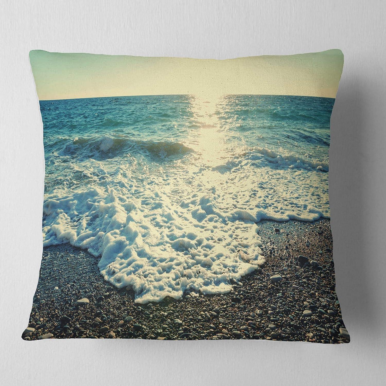 Sofa Throw Pillow 26 x 26 Designart CU10409-26-26 Dramatic Blue Waves on Beach Seashore Cushion Cover for Living Room
