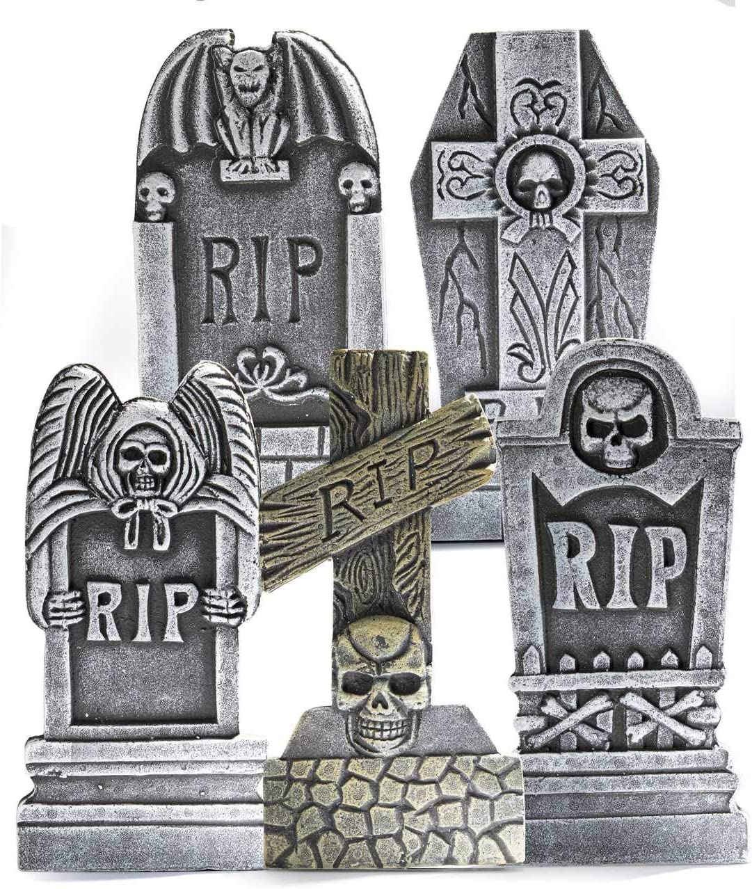 """Prextex Pack of 5 Halloween Décor 17"""" RIP Graveyard Lightweight Foam Tombstone Halloween Decorations RIP"""
