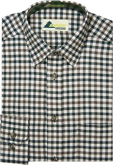 SKOGEN XXL Camisa de Manga Larga en Cuadros Escoceses de Color Marrón Oliváceo Natural: Amazon.es: Ropa y accesorios