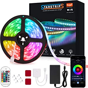 Starstrips LED Strip Lights16.4ft WiFi 5050 with Smart RF Remote Music Sync Phone App Control Work with Alexa Google Home Waterproof IP 65 Rope Lights for Bedroom Kitchen Party Decoration (ST004B)
