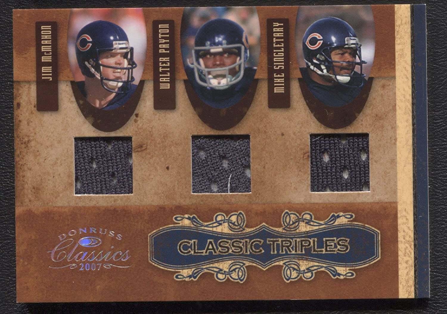 a921a476de6 Chicago Bears 2007 Donruss Classics Classic Triples #CT-4 Jim McMahon  Walter Payton Mike Singletary Game Used Jersey Swatch Card /250 at Amazon's  Sports ...