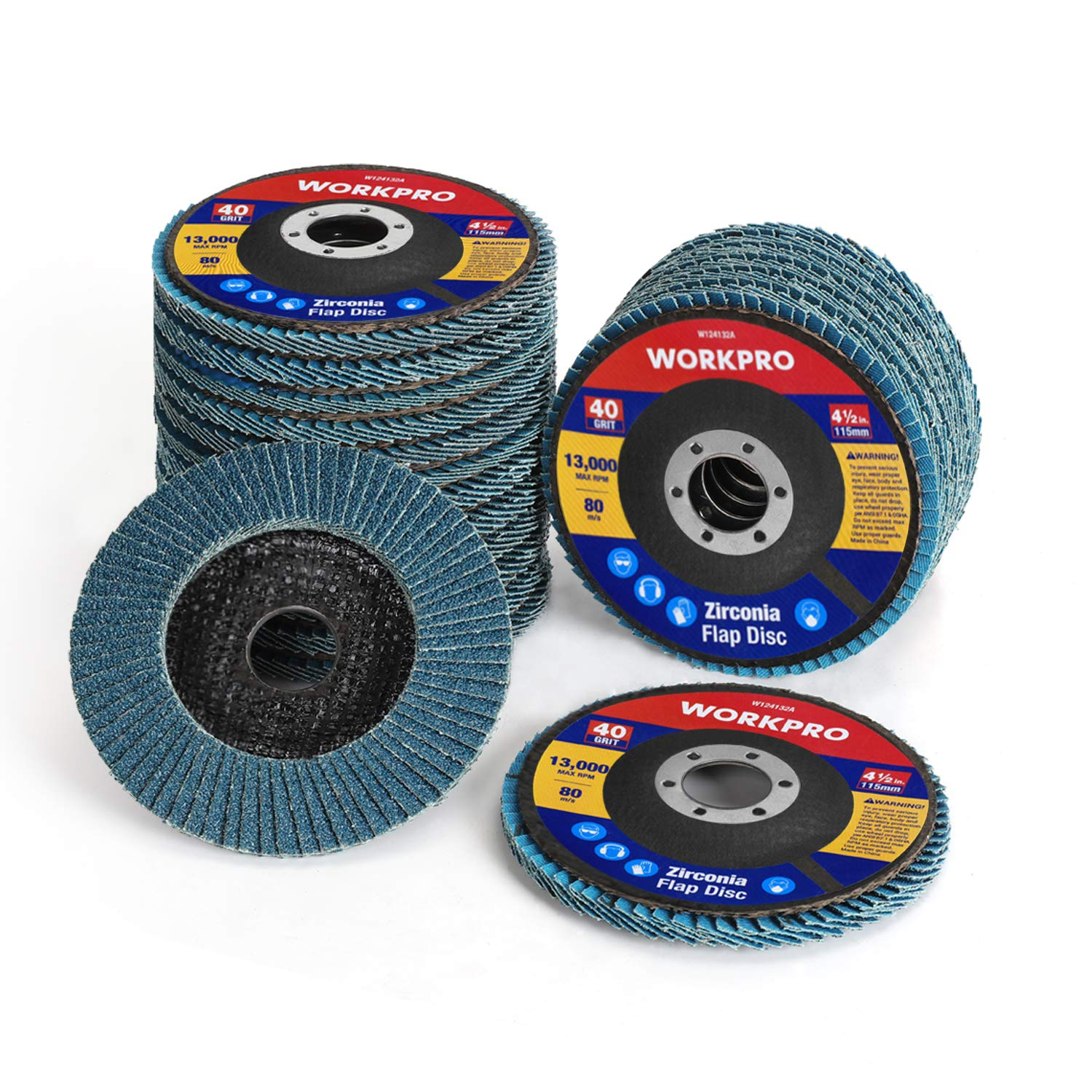 WORKPRO 20-pack Flap Disc, 4-1/2 x 7/8-inch, Zirconia Abrasive Grinding Wheel and Flap Sanding Disc, Includes 40/60/80/120 grits
