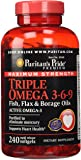 Puritan's Pride Maximum Strength Triple Omega 3-6-9 Fish, Flax & Borage Oils-240 Softgels