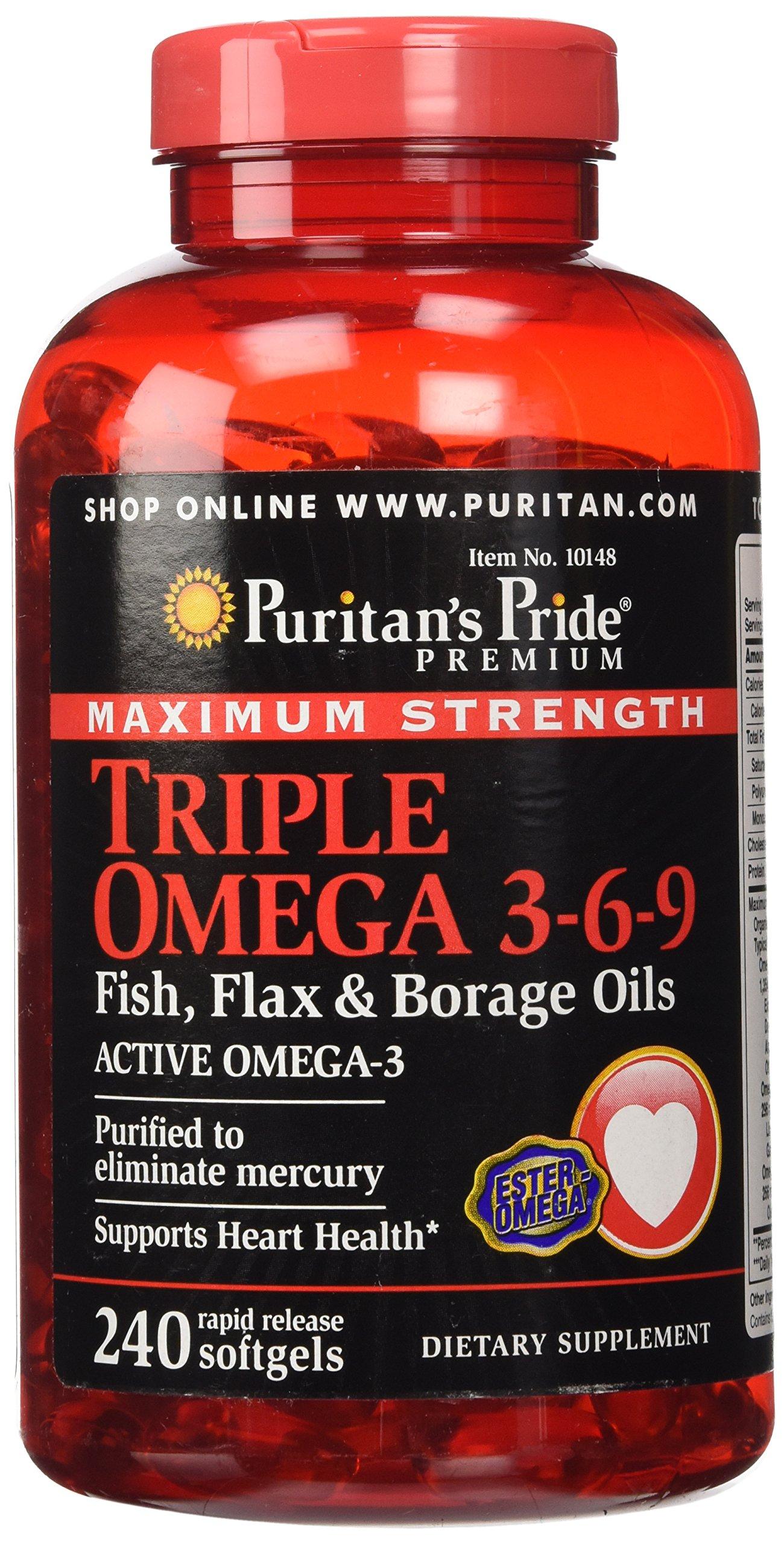 Puritan 39 s pride triple strength glucosamine for Fish flax and borage oil