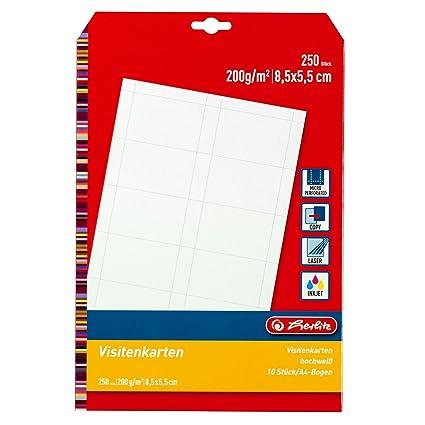 Herlitz 5020417 Visitenkarte Unbedruckt 85 X 55 Mm 200 G Qm 10 Stück Weiß 25 Blatt Blanko