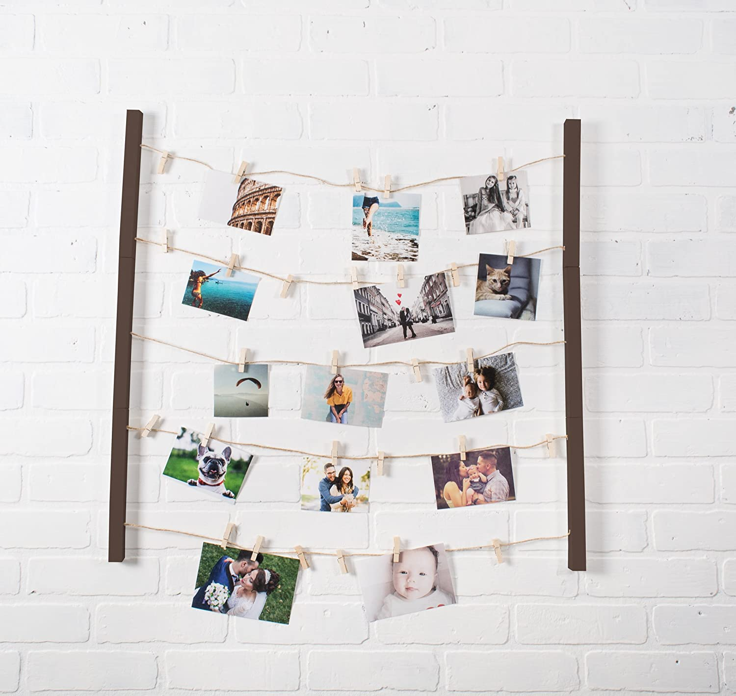 Natural Wood Wall Mounts and Art and 30 Wooden Clothespin Clips for Hanging Photos Rustic Gray Prints DII Home Traditions Floating Photo Display DIY Photo Collage Set with Twine Clothesline