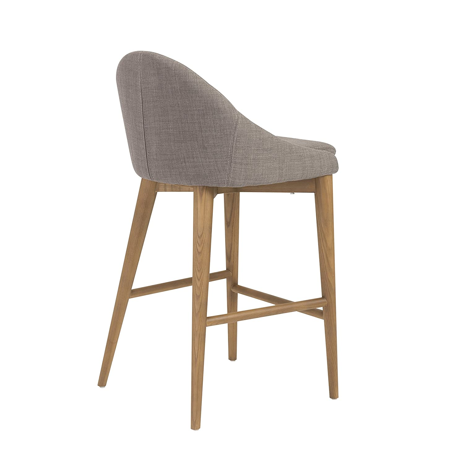 Euro Style Baruch Counter-Height Stool in Walnut Finished Legs, Dark Gray