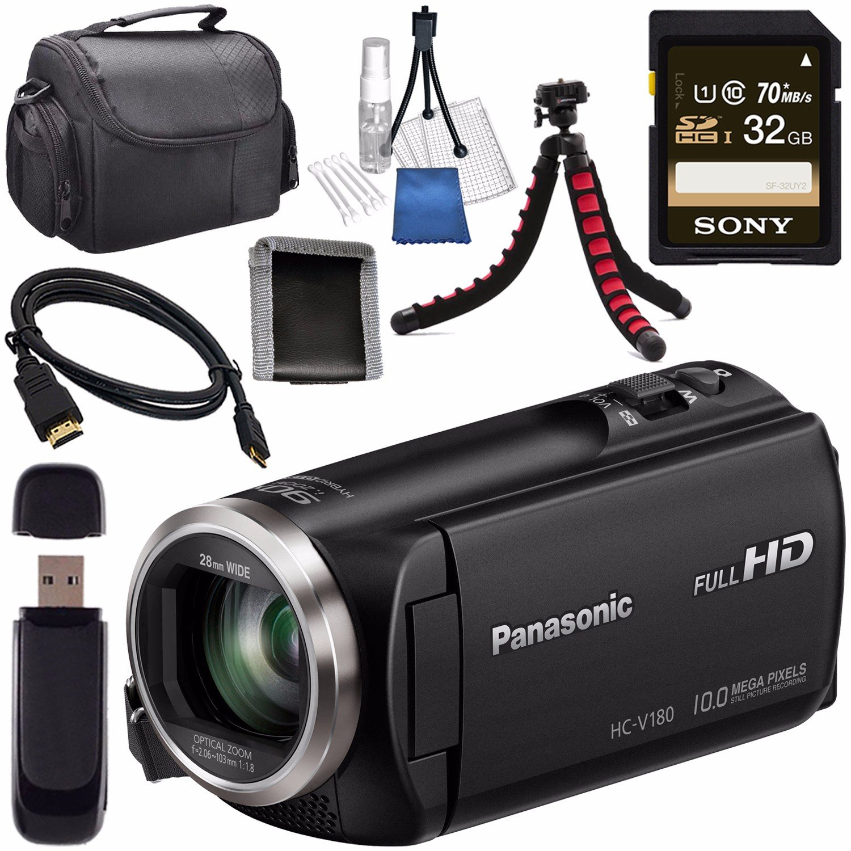 Panasonic HC-V180K Full HD Camcorder (Black) HC-V180K + Sony 32GB SDHC Card + Lens Cleaning Kit + Flexible Tripod + Carrying Case + Memory Card Wallet + Card Reader + Mini HDMI Cable Bundle by Panasonic